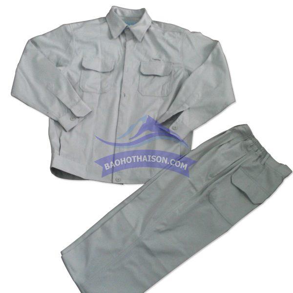 Quần áo bảo hộ lao động màu ghi trắng
