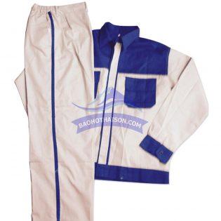 Quần áo bảo hộ lao động phối màu trắng xanh