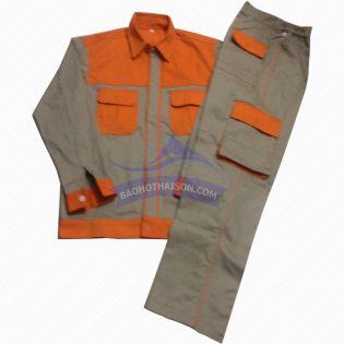 Quần áo bảo hộ lao động vải kaki phối màu 04