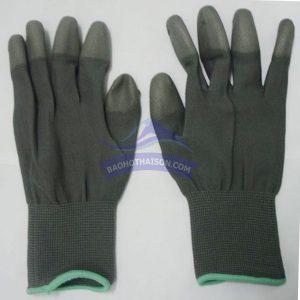 Găng tay phủ pu đầu ngón màu xám