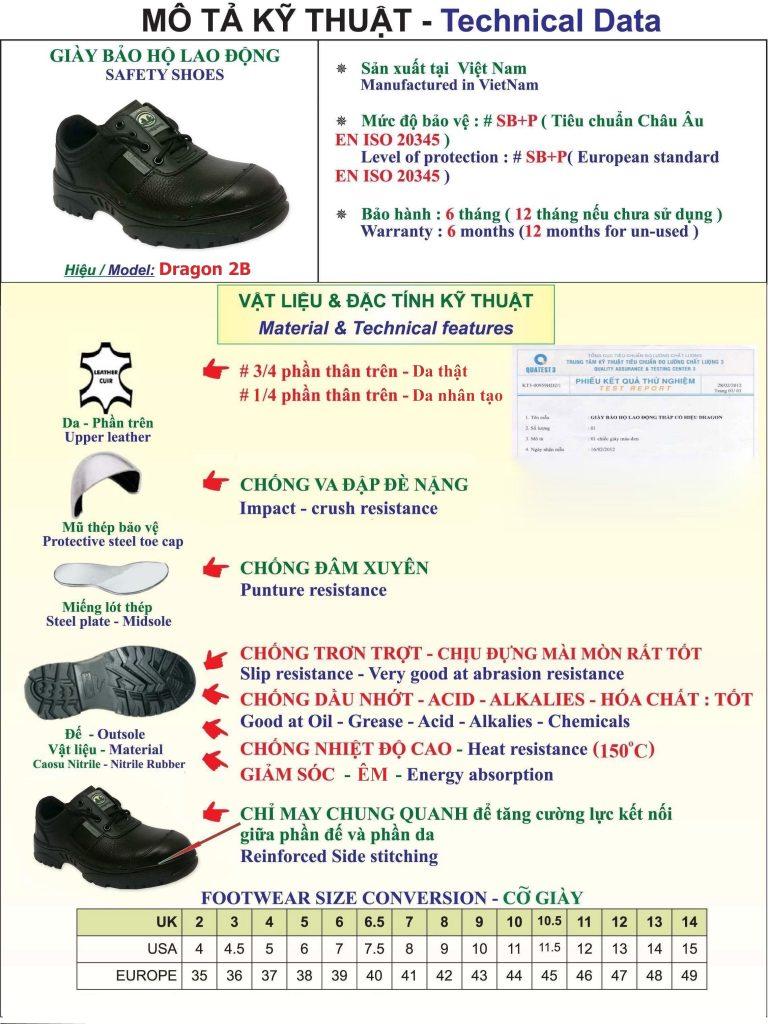 Thông tin giày bảo hộ lao động dragon 2b